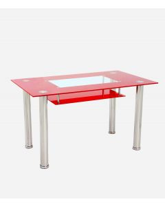 Christie Rectangular Glass Top Red Dining Table