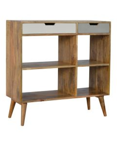 Grey Cutout Bookcase With 2 Drawers