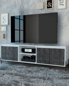 DL912 Core Products Dallas Ultrawide 4 Door TV Stand in White & Carbon Grey Oak Effect at Price Crash Furniture. Matching items available