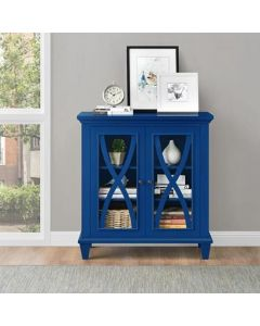 Ellington Glazed 2 Door Display Cabinet in Blue by Dorel