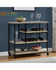 Elmwood grey oak drinks and serving trolley cart at Price Crash Furniture