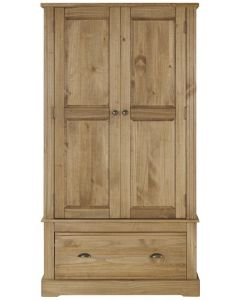 Fara Waxed Pine 2 Door, 1 Drawer Wardrobe