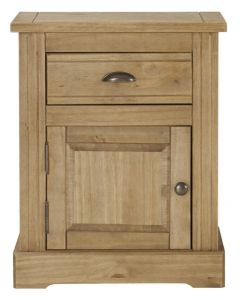 Fara Waxed Pine 1 Drawer, 1 Door Bedside Cabinet