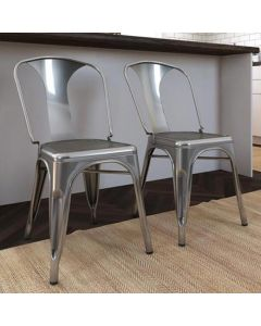 Pair of Finn Metal Dining Chairs in Grey by Dorel