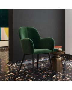 Fitz Velvet Accent and Bedroom Chair in Green by Dorel