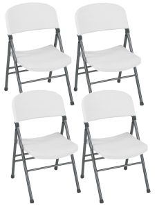 4-Pack Indoor Outdoor Commercial Cosco Resin Folding Chair White Speckle