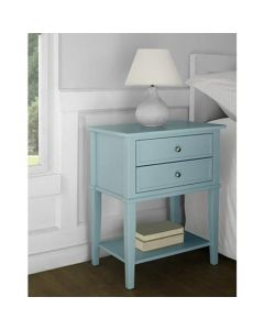 Franklin 2 Drawer Side Table Bedside Cabinet in Blue by Dorel