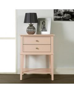 Franklin 2 Drawer Side Table Bedside Cabinet in Pink by Dorel