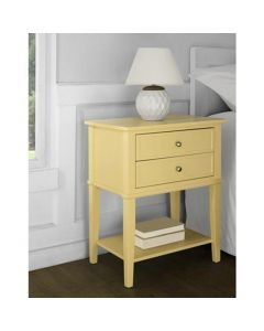Franklin 2 Drawer Side Table Bedside Cabinet in Yellow by Dorel