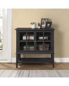 Franklin Storage Cabinet with 2 Glazed Doors in Black by Dorel