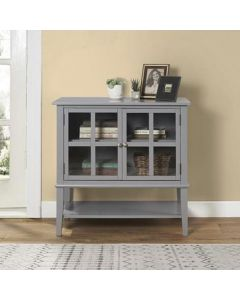 Franklin Storage Cabinet with 2 Glazed Doors in Grey by Dorel