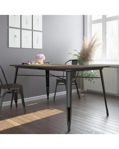 Fusion 150cm Metal Rectangular Dining Table in Black by Dorel
