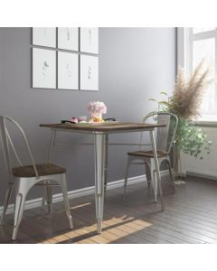 Fusion 80cm Metal Square Dining Table in Antique Gunmetal by Dorel