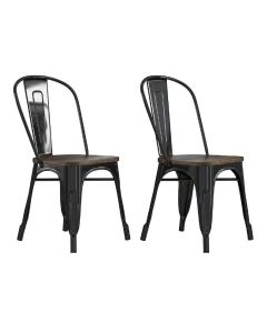 Pair of Fusion Metal Dining Chairs with Wood Seat in Black by Dorel