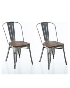 Pair of Fusion Dining Chairs with Wood Seat in Antique Gunmetal by Dorel