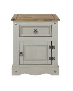 Core Products Corona Grey Washed 1 Door, 1 Drawer Bedside Cabinet