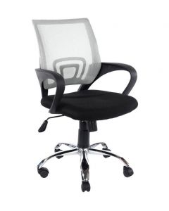 Core Products Loft Study Chair In Grey Mesh Back, Black Fabric Seat With Chrome Base