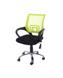 Core Products Loft Study Chair In Lime Green Mesh Back, Black Fabric Seat With Chrome Base