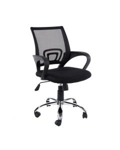Core Products Loft Study Chair In Black Mesh Back, Black Fabric Seat With Chrome Base