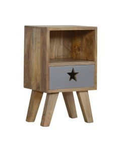 Nordic style Petite Star Painted Bedside with 1 drawer and 1 shelf in grey paint and solid mango wood at Price Crash Furniture. Perfect for small bedrooms.