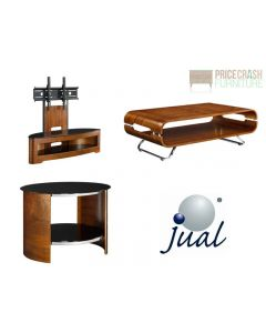 Jual Furnishings JF209 Cantilever TV Stand, Coffee Table & 2 Side Tables In Walnut