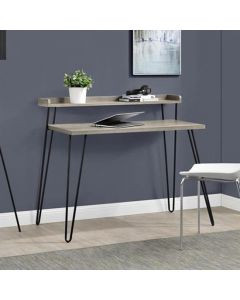 Haven Laptop Desk with Riser Shelf in Distressed Grey Oak by Dorel