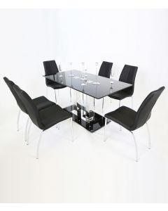 Holly Black Glass Top and Chrome Modern Dining Table 160 CM