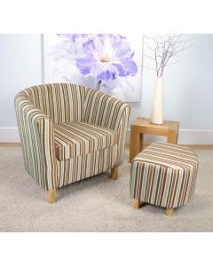 Stripe Fabric Antique Gold Tub Chair Set