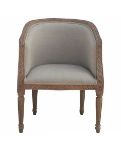 Carved Upholstered Tub Chair