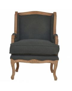 French Upholstered Wing Arm Chair