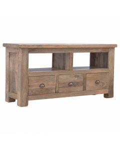 Solid Wood 3 Drawer Media Unit