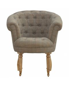 Deep Buttoned Tub Armchair In Tweed