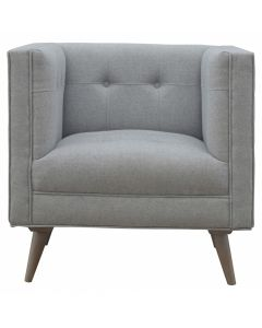 Scandinavian Designed Arm Chair In Grey Tweed