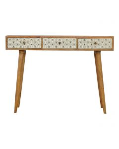 ArtHaus Collection Geometric Printed 3 Drawer Writing Desk