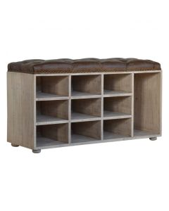 Buffalo Hide 9 Slot Shoe Cabinet With Deep Buttons