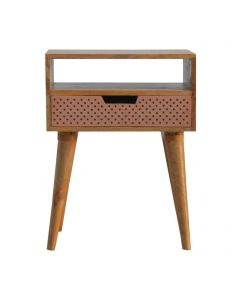 ArtHaus Collection Perforated Copper Front Bedside Table
