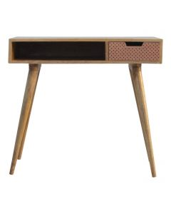 ArtHaus Collection Perforated Copper Front Nordic Style Writing Desk With 1 Drawer