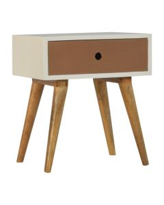 1 Drawer Painted Nordic Style Bedside With Round Cut-out
