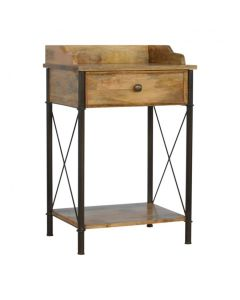 1 Drawer Gallery Back Bedside With Iron Base