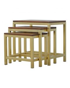Golden Stool set of 3 with Chunky Wooden top