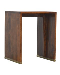 ArtHaus Collection Gold Brass Inlay Chestnut End Table