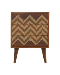 ArtHaus Collection Brass Inlay 3 Drawer Bedside