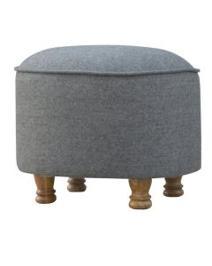 Grey Tweed Oval Footstool