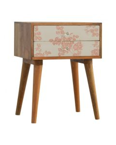 2 Drawer Pink Floral Screen-Printed Bedside