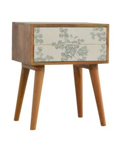 2 Drawer Green Floral Screen-Printed Bedside