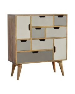 7 Drawer 2 Door Hand Painted Chest With Grey Cut Out Drawers