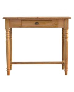 1 Drawer Writing Desk With Flute Legs In Solid Wood