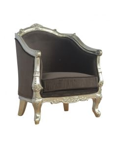 Sleek Brown Cotton Velvet Armchair With Hand Carved Electro-Plated Nickel Silver