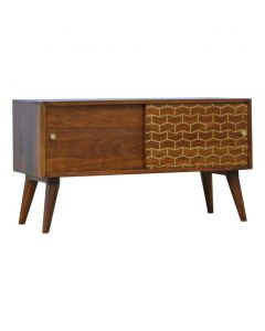 Chestnut Sliding Cabinet With Gold Patterned Door Front