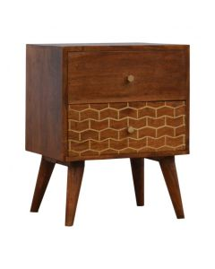 2 Drawer Chestnut Bedside With Gold Inlay Drawer Front
